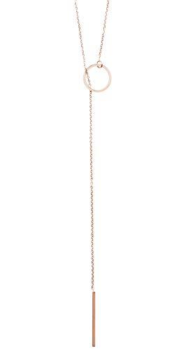 Happiness Boutique Damen Lange Kette in Rosegold   Y Kette mit Stab und Kreis Anhängern Halskette im Geometrischen Design