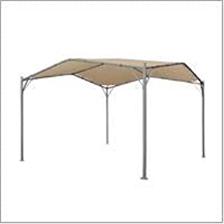 Great Deal Furniture Tate Outdoor 11.5' by 11.5'Modern Gazebo Canopy, Beige and Silver