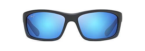 Maui Jim Herren B766-08C Sonnenbrille, Negra Mate Azul trasparente, 61/17/127
