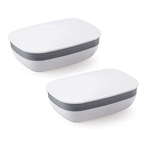 CML Platín para Soporte de jabón de Viaje con Sellado Fuerte, a Prueba de Fugas portátiles - Paquete Blanco de 2 (Color : White)
