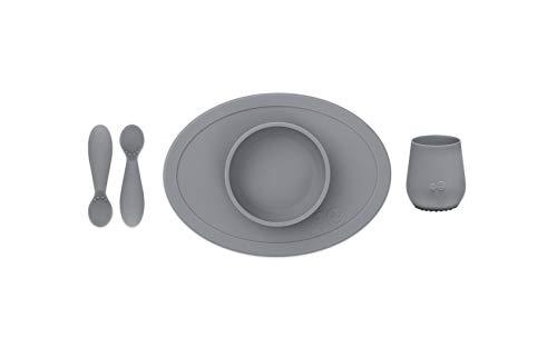 EZPZ Set de Primeros Alimentos - Tiny Bowl, Tiny Cup, Tiny Spoons 4 meses +. Bol, vaso y cucharas 100% de silicona para bebés. Gris oscuro