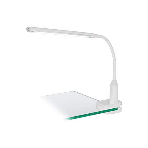 EGLO Lampe à pince en plastique intégrée, blanc, 45 x 6,5 x 27,5 cm.