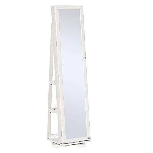 HOMCOM Specchio Portagioie, Specchio da Terra Girevole, Specchio Moderno per Camera da...