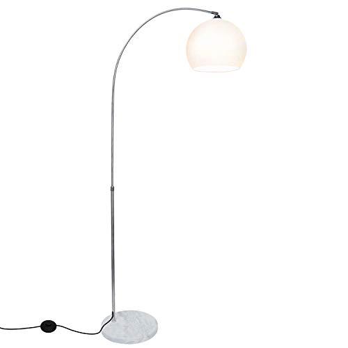 Hengda Stehlampe Bogenlampe mit Standfestem Marmorfuß,Höhenverstellbar 145-220cm,Fußschalter,ø Schirm 30 cm,chrom/weiß Bogenstandleuchte,Stehleuchte,Bogenleuchte,Bogenstandleuchte für Wohnzimmer