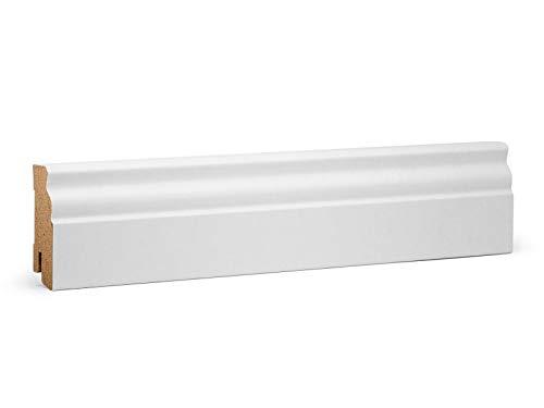 KGM Hamburger Sockelleiste Altberliner Profil – Weiß folierte MDF Fußbodenleiste – Maße: 2500 x 19 x 60 mm – 1 Stück