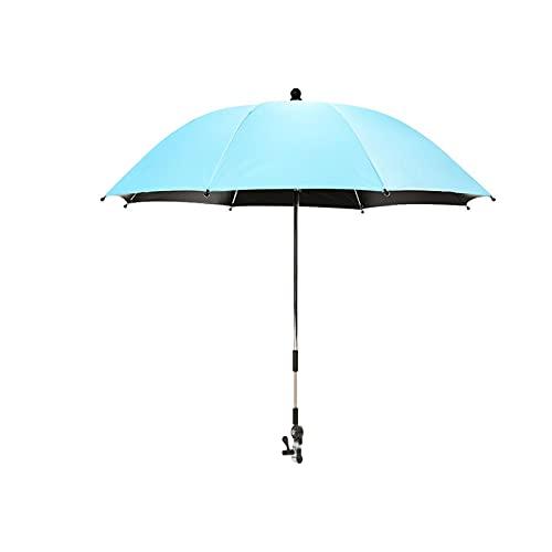 Ombrello flessibile regolabile per passeggino, adatto per varie applicazioni come carrelli, sedie a rotelle, sedie a rotelle, sedie da giardino, sedie a sdraio, bici, ecc., Blu, φ75cm,