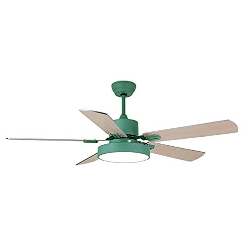 DSDD Ventilador de Techo con iluminación y Control Remoto silencioso, Ventilador de candelabro Plano de 55 Pulgadas, aspas para Dormitorio, Sala de Estar, Verde
