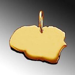 Anhänger Gold 585 Landkarte FÖHR Kettenanhänger in 585 Gelbgold