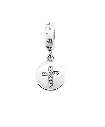 FeatherWish Charm-Anhänger Heiliges Kreuz 925 Sterling Silber mit rosa Zirkonia für Pandora-Armband, europäische 3 mm Armbänder oder Halsketten
