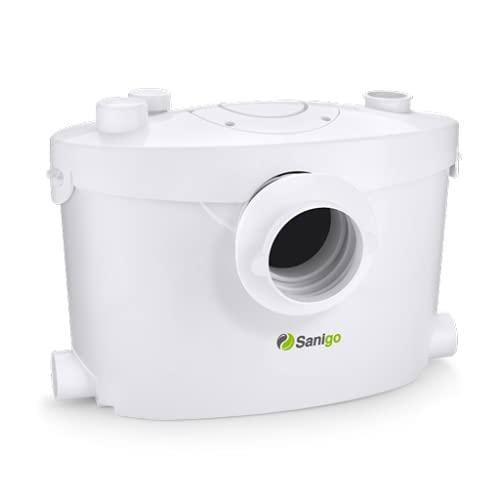 Sanigo SANI400+ Hebeanlage Haushaltspumpe Fäkalien Abwasserpumpe für WC 400W mit Kohlefilter und Abnehmbare Serviceplatte