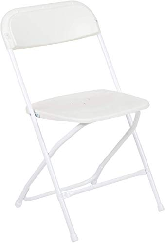 AJP Distributors 10 Pack 650 lb. Capacity Premium Plastic Folding Chairs Wedding Party Outdoor Indoor Office Meeting House Dinner Diner (White)