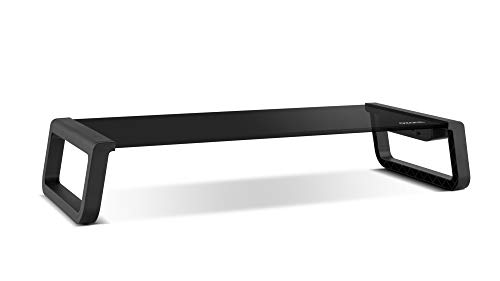 Soporte Monitor Ozone Riser Pro - Soporte Portatil para tu PC - Vidrio Templado, 4xUSB 3.0, Negro