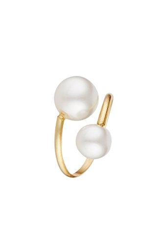 Córdoba Jewels | Anillo en Plata de Ley 925 bañada en Oro. Diseño Tú y Yo Oro Perla cultivada