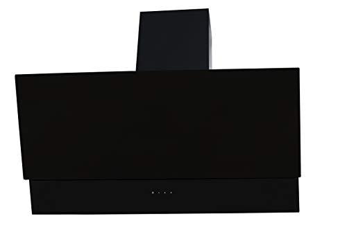 ICQN Schwarz Glas Dunstabzugshaube | 60cm Kopffrei mit LED-Beleuchtung | Abzugshaube mit Touch Control Sensorsteuerung | 380 m³ /h Saugleistung | 3 Leistungsstufen | 2x1 Watt Led Lampe | Sehr Leise