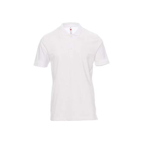PAYPER Polo Rome, Ideale per Lavoro, 3 Bottoni in Tinta, Cotone piquet 100% (Bianco, S)