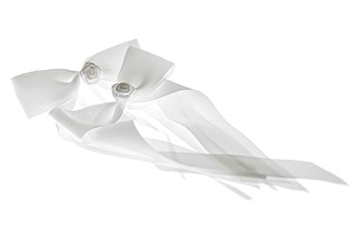 flexistore 10 Lazos con Rosa Decorativos - para Antena de Coche, Boda, celebración - Blanco