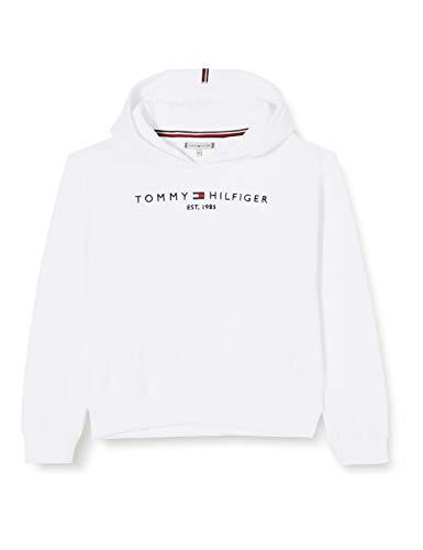 Tommy Hilfiger Mädchen Essential Hooded Sweatshirt Pullover, White, 10