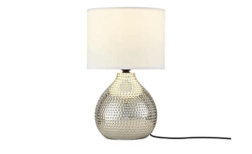 KHG Tischlampe Silber Keramik E27 24,0cm Ø Tischleuchte mit weißem Stoffschirm Glamour Tischleuchte