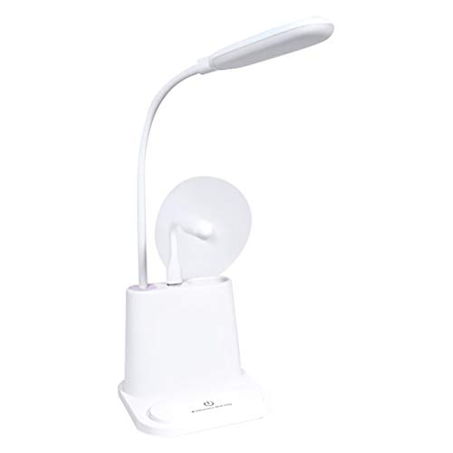 Radorock USB Rechargeable Table Lamp With Electric Fan Adjustable Pen Holder Best lamp Choice for Office or Studying Desk Adjustable Gooseneck Stepless Dimming & Eye Caring (White)