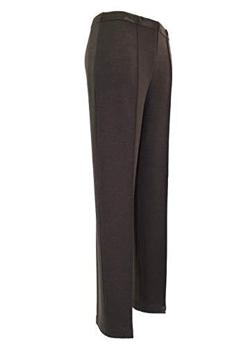 Pantalone Donna in Lana Jersey Caldo Morbido Elasticizzato Vita Alta (Marrone, 44)
