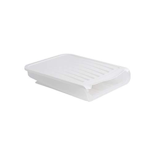 Qinghengyong 18 cuadrículas Huevo Titular de Almacenamiento automático de Desplazamiento de contenedores Caja de Huevos dispensador de la Caja, Blanca casera de la Cocina Blanco