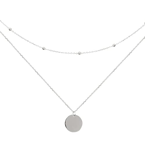 QIN Color Double Layer Round Disc Pendant Necklace Bead Chain Charm Necklace For Women Jewelry