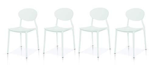 Fashion Commerce Set di 4 sedie Minimal Polipropilene Tortora, Set 4 unità