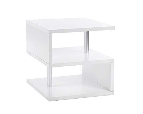 ts-ideen Beistelltisch Couchtisch Aufbewahrung Holz Weiß Ablage Nachttisch 50 x 50 cm