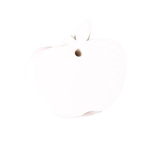 Hosaire 100Pcs Cadeau Tags Petit Vintage Mariage étiquettes Cadeaux en Papier Kraft Tags Forme de Apple Décor de Mariage Noël Fête Solid Couleur Blanc (Sans corde)