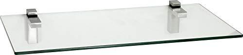 ib style Glasregal 10mm | mit Befestigungsclip Quadro Edelstahloptik | Satiniert |60x30cm