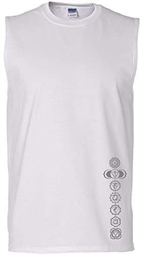 Camisa con músculos de Yoga para Hombre - Camiseta sin Mangas con 7 símbolos de Chakras - Estampado Inferior