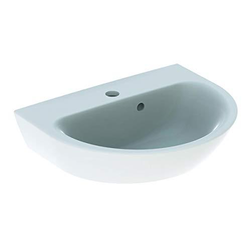 Geberit Renova Handwaschbecken, 1 Hahnloch, asymmetrischer Überlauf, Breite: 50cm, Farbe: Weiß, mit KeraTect - 500.376.01.8