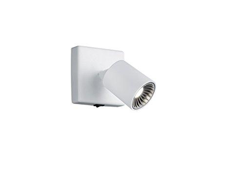 TRIO, Spot, Cayman incl. 1 x LED,SMD,4,5 Watt,3000K,430 Lm. Corps: metal, Blanc L:8,5cm, L:8,0cm, P:12,0cm IP20,Interrupteur,OSRAM Inside,Montage au mur