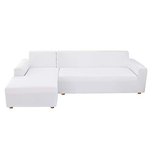 NIBESSER Sofabezug Sofaüberwürfe für L-Form Sofa elastische Stretch Sofabezug Sofa Überzug (2 Sitzer+2 Sitzer, weiß)