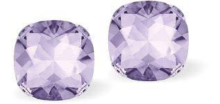 Pendientes de tuerca con cristales Swarovski cuadrados facetados con diamantes en color morado y malva de 8 mm de tamaño, con pendientes de plata de ley