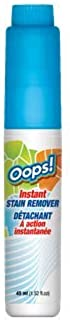 Oops! Instant Stain Remover. Elimininates Stains Such as Grease, Oil. Blood, Grass & Dirt, Lipstick, Makeup, Non-Permanent Ink, Food, Coffee, Tea & Other Beverages.