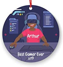 Gepersonaliseerde Video Game Player Jongen spelen Video Game Kerstmis Ornament 2019 2020 Gamer Box (Black boy)