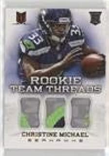 Christine Michael #/25 (Football Card) 2013 Panini Momentum - Rookie Team Threads - Triple Materials Prime #26