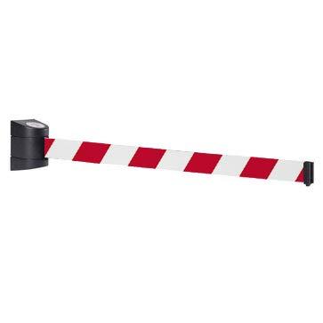 Barriera magnetica a scomparsa da 10 m con alloggiamento a parete in plastica ABS, funzione di bloccaggio, barriera di sicurezza a scomparsa per il controllo della quantità umana (rosso/bianco)