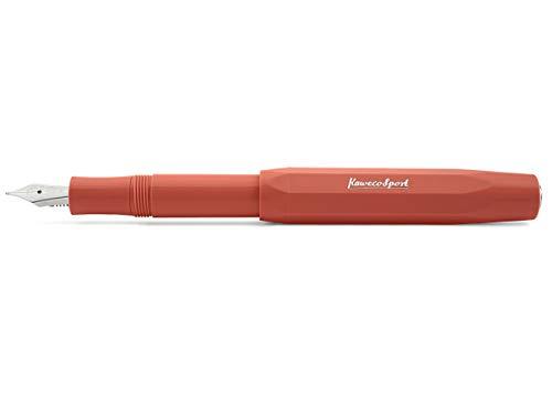 Kaweco Füllfederhalter Skyline Sport Rot I Premium Füllfederhalter Luxus für Tintenpatronen mit hochwertiger Stahlfeder I Kaweco Sport Füller 13,5 cm Fox Federbreite: M (Medium)