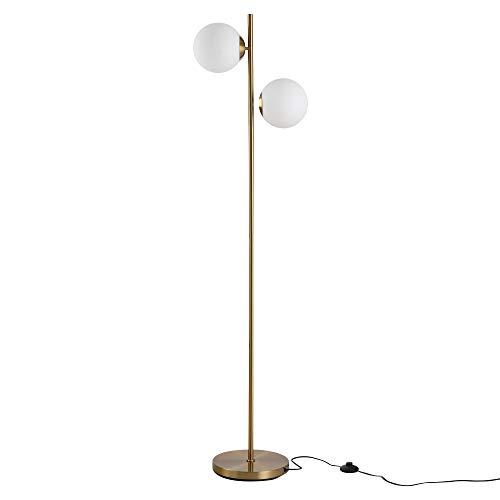HOMCOM Lampadaire Design néo-rétro 2 Boules Max. 40 W métal doré