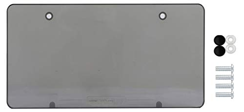 BLVD-LPF OBEY YOUR LUXURY Tinted Clear Smoked Unbreakable License Plate Shields - 1 -Pack Novelty/License Plate Tint Smoke Flat Covers 2 Holes Patented
