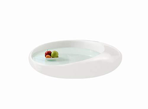 SalesFever Design Couchtisch rund Pool, Hochglanz Weiß, aus Fiberglas, 100 x 100 x 25 cm