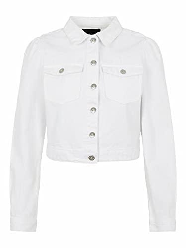 PIECES Pcgreyson LS CR Jacket-Vi BC Chaqueta de Jean, Blanco Brillante, S para Mujer