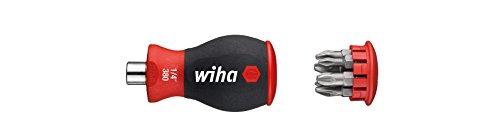 Wiha Magazin-Bithalter Stubby 3801-02 / Mini Schraubendreher mit 6 Bits im Griff / Schraubenzieher magnetisch mit Phillips und Pozidriv Bits / 1/4