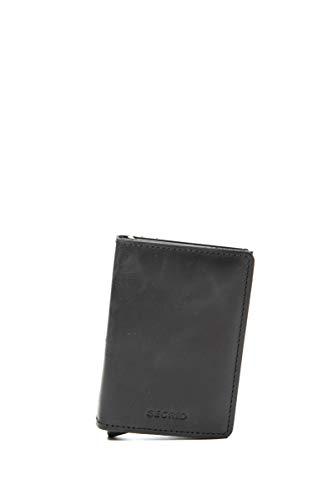 Secrid - Tarjetero rígido de Cuero y Aluminio en Negro