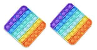 dambrofil 2 x Pop It Bubble Fidget Toy para adultos y niños Multicolor Juego antiestrés relajante (Arcobaleno)