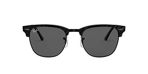 Ray-Ban RB3016 Clubmaster Square Sunglasses, Wrinkled Black On Black/Dark Grey, 51 mm