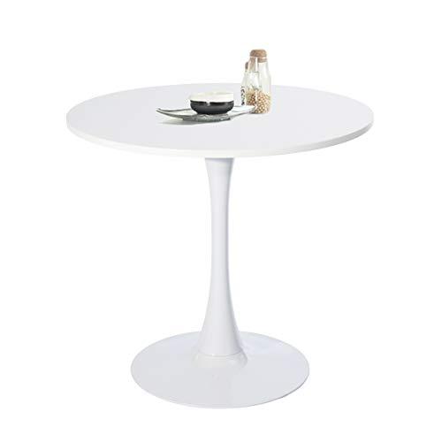 FURNITURE-R France Esstisch, rund, klein, Küchentisch aus Holz, Kaffeetisch, Bürotisch, rund,Weiß