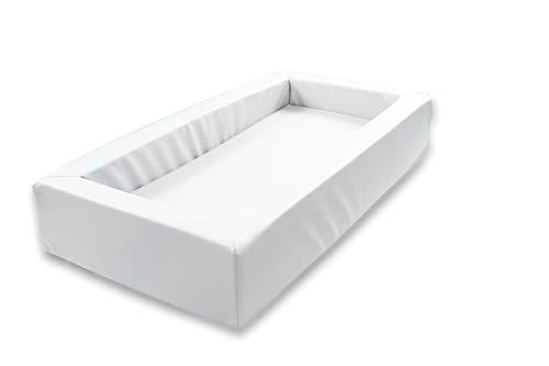 Krippenbett Picco, Weichschaumbett 120x60x20cm, Bezug: Kunstleder Weiß
